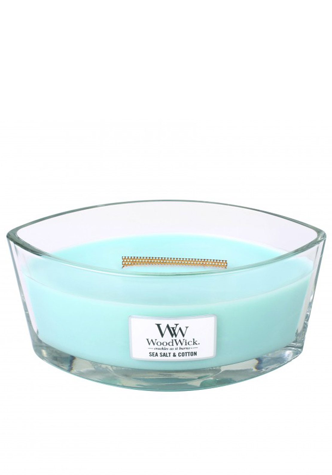 WoodWick Hearthwick Flame Large Candle, Sea Salt & Cotton