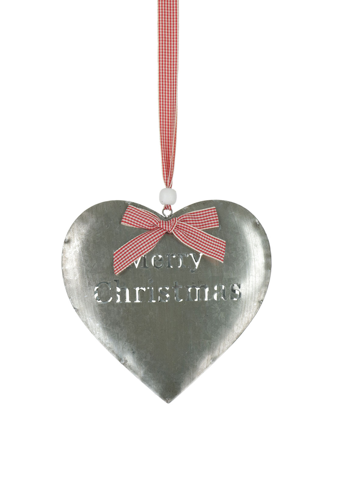 Hanging Metal Merry Christmas Heart Decoration