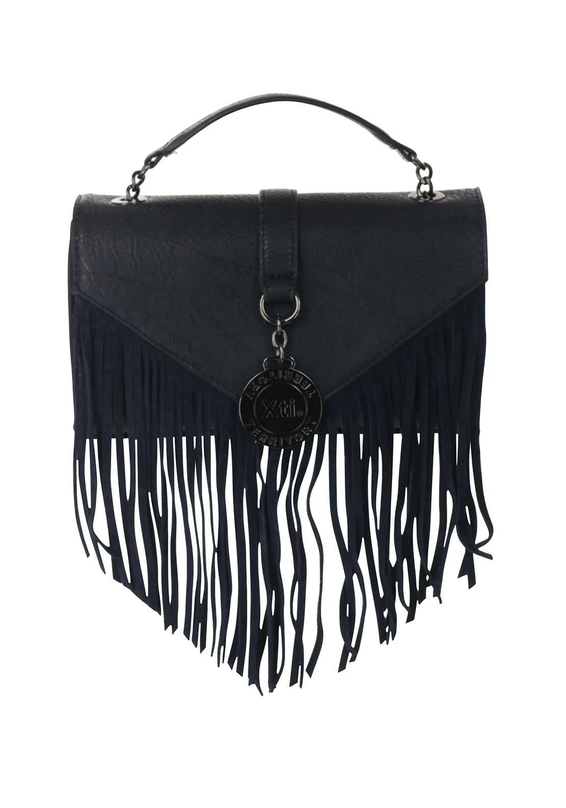 Xti Fringed Crossbody Bag, Navy