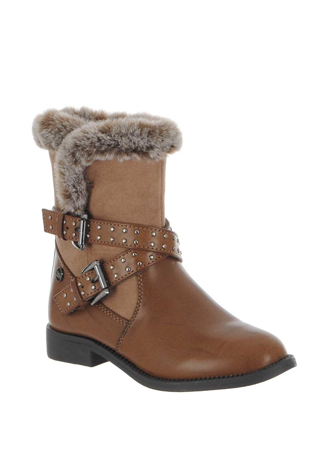 Xti Girls Fur Timr Buckle Boots, Brown