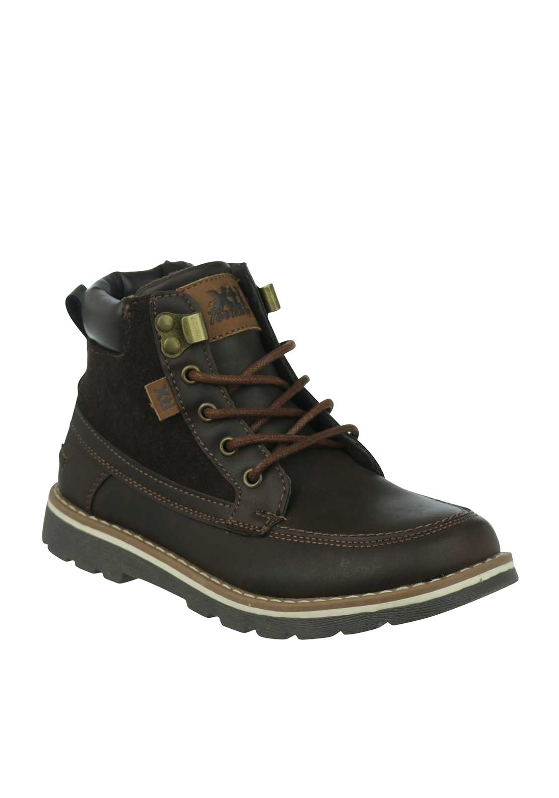 Xti Boys Contrast Laced Boots, Brown
