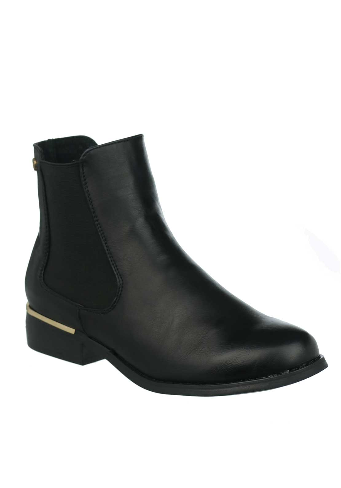 Xti Womens Gold Trim Chelsea Boots, Black
