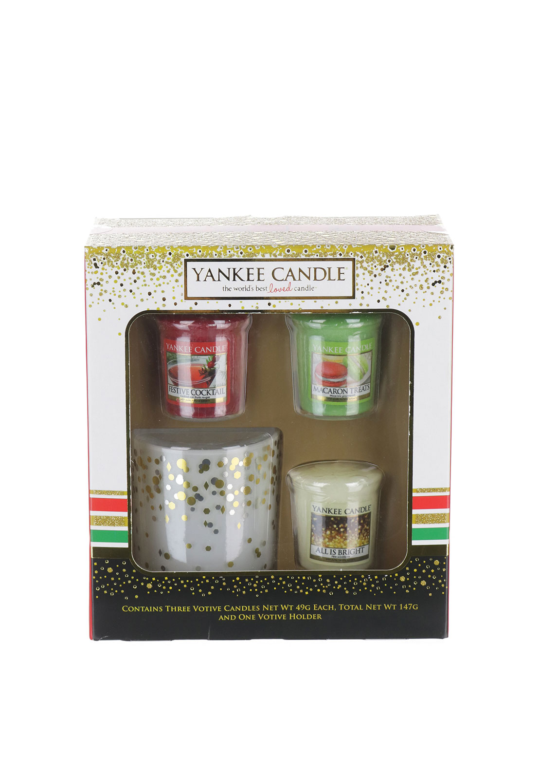 Yankee Candle Holiday Party 3 Votive & Holder Set