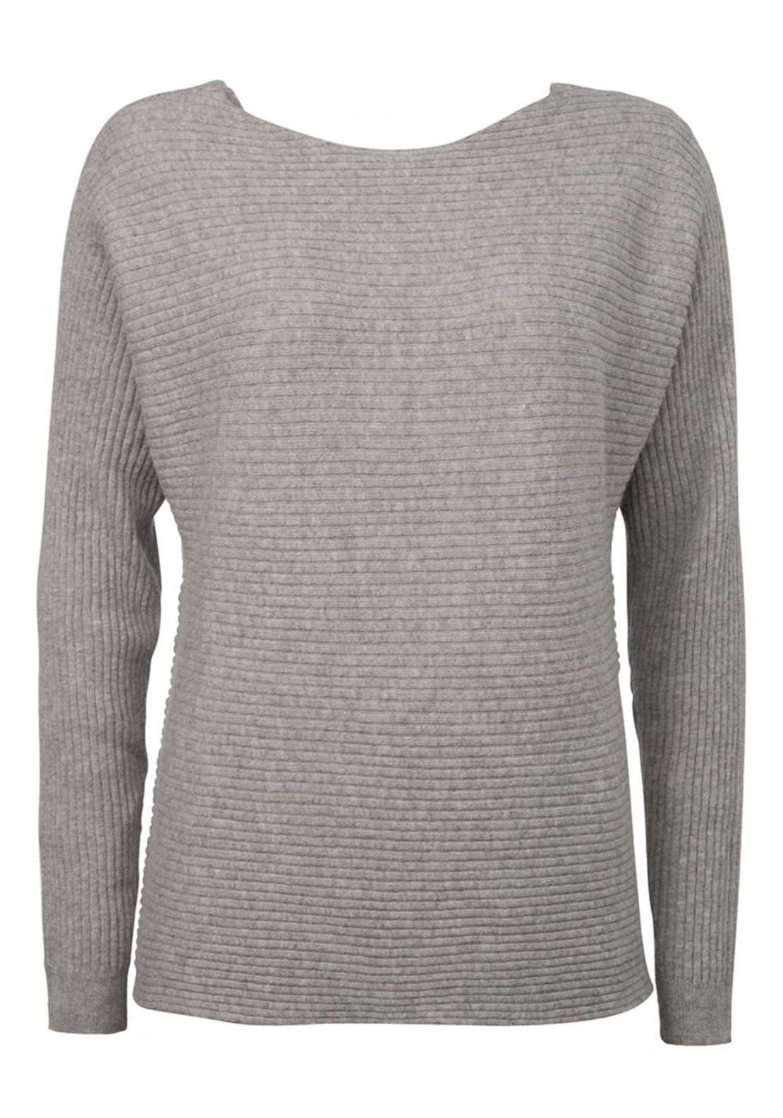 Yaya Low Back Ribbed Sweater, Grey