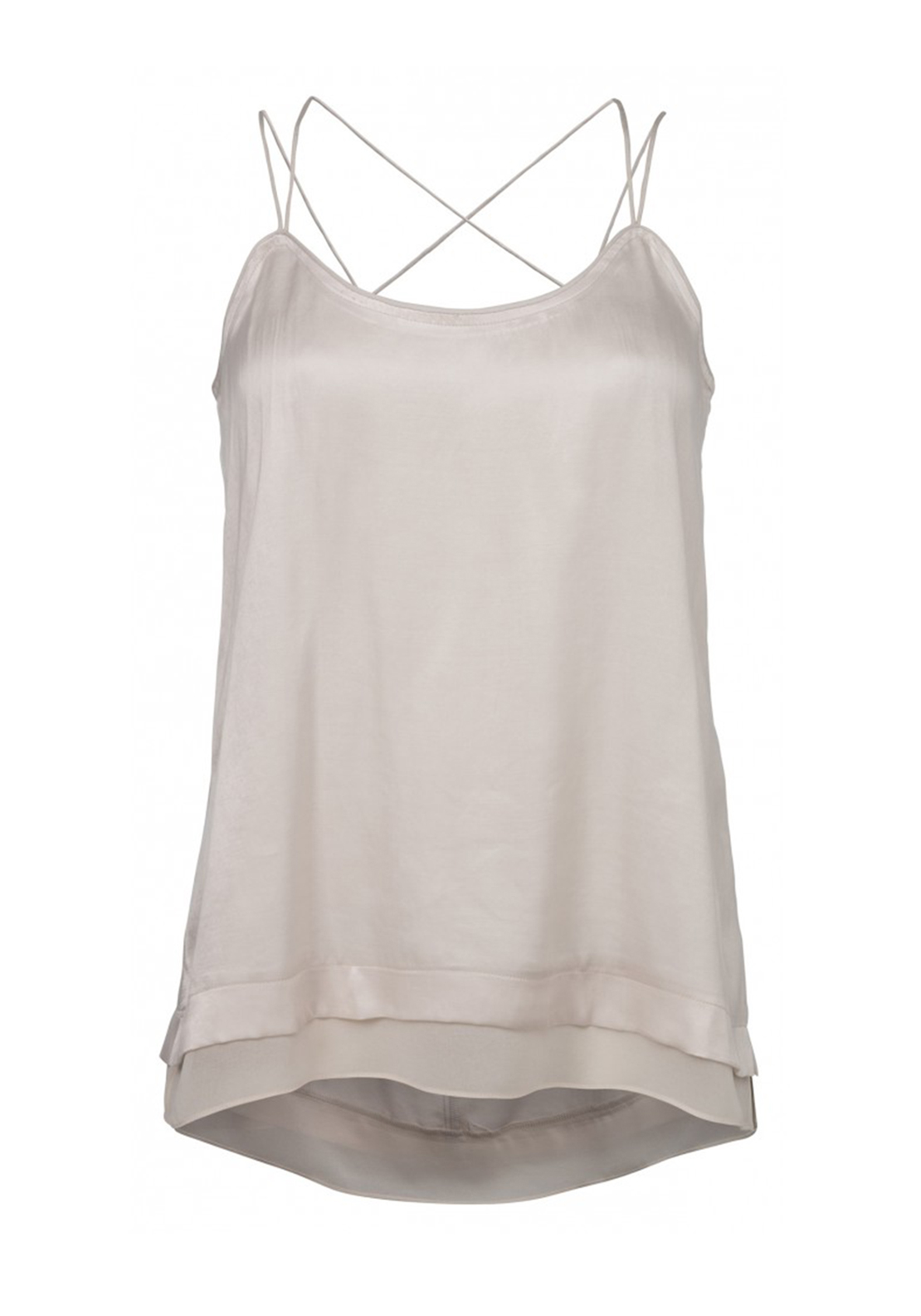 Yaya Strappy Faux Silk Camisole Top, Cream