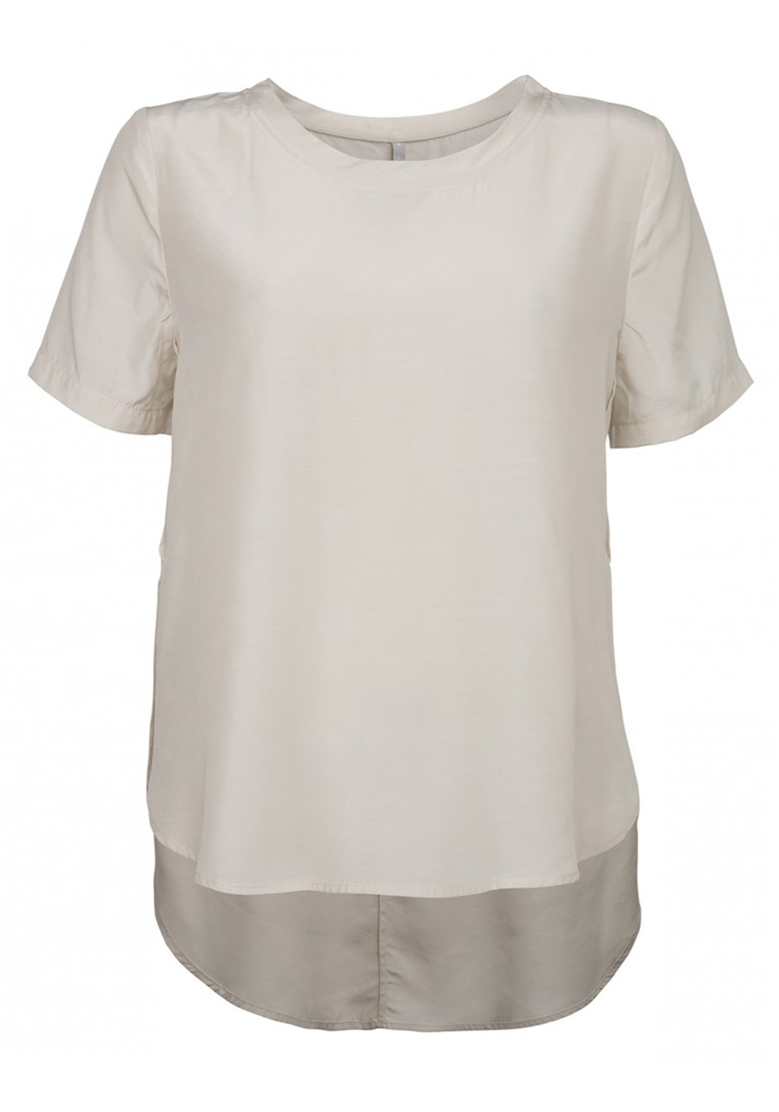 Yaya Side Split Short Sleeve Top, Cream