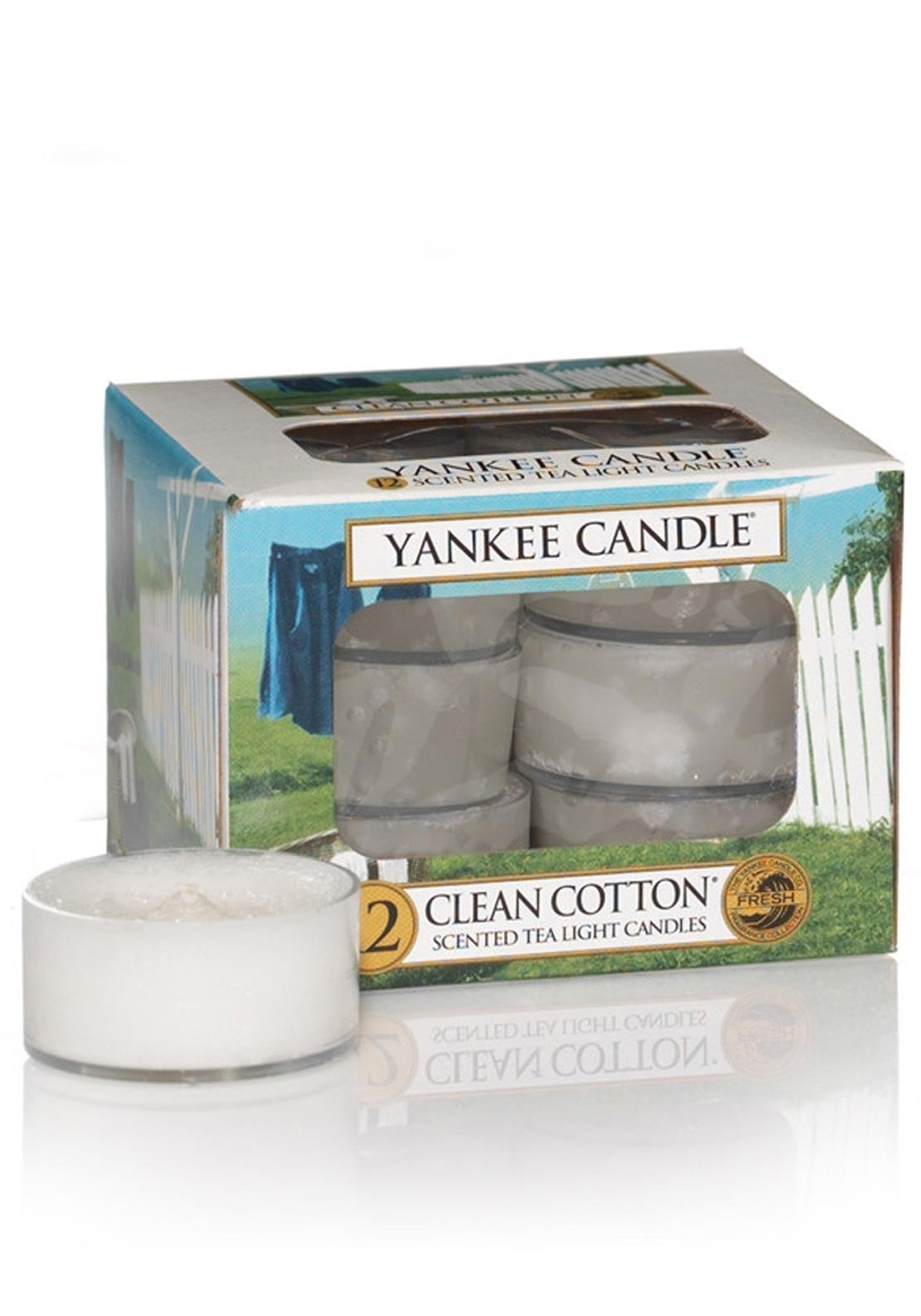 Yankee Candle 12 Scented Tea Light Candles, Clean Cotton