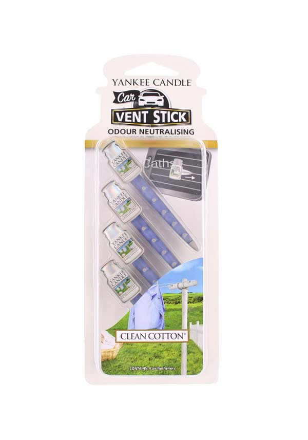 Yankee Candle Car Vent Sticks, Clean Cotton 4 pack