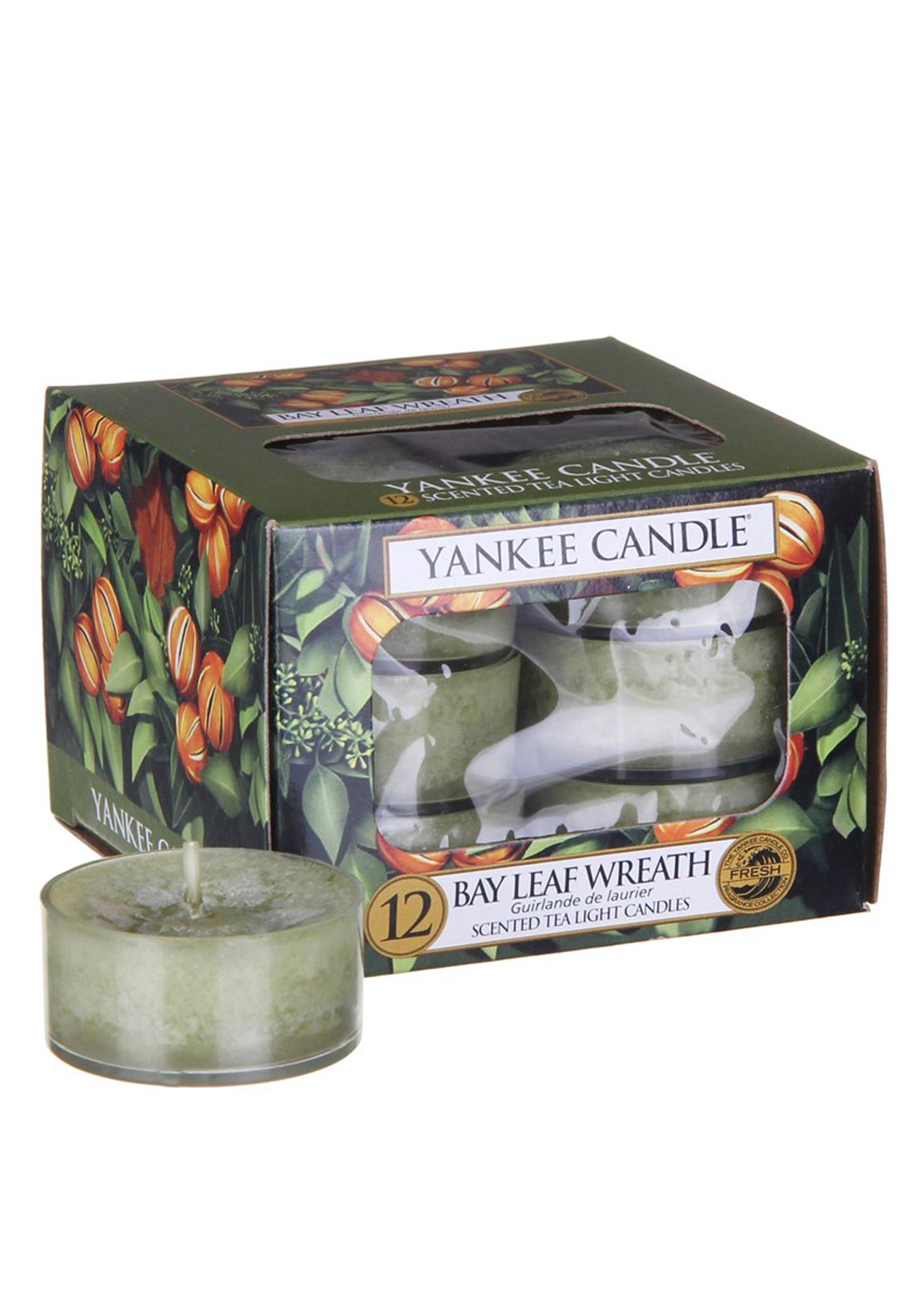 Yankee Candle 12 Scented Tea Light Candles, Bay Leaf Wreath