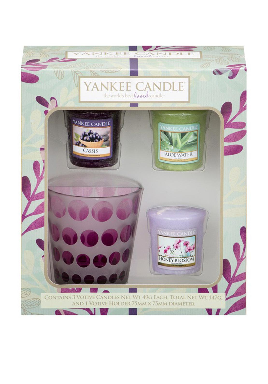 Yankee Candle Pure Essence 3 Votive Candles and 1 Votive Holder