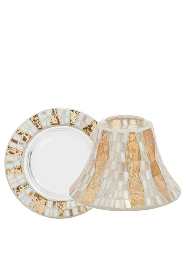 Yankee Candle Gold Wave Mosaic Glass Shade and matching Tray