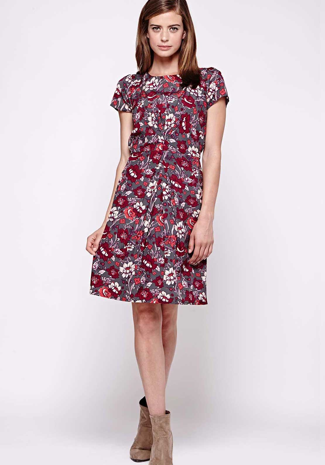 Yumi Rose Print Skater Dress, Grey and Wine
