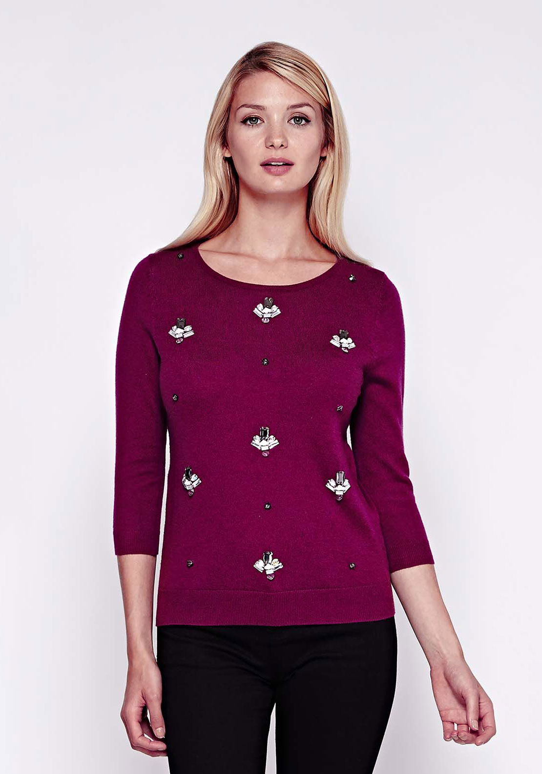 Yumi Embellished Wool Blend Jumper, Pink