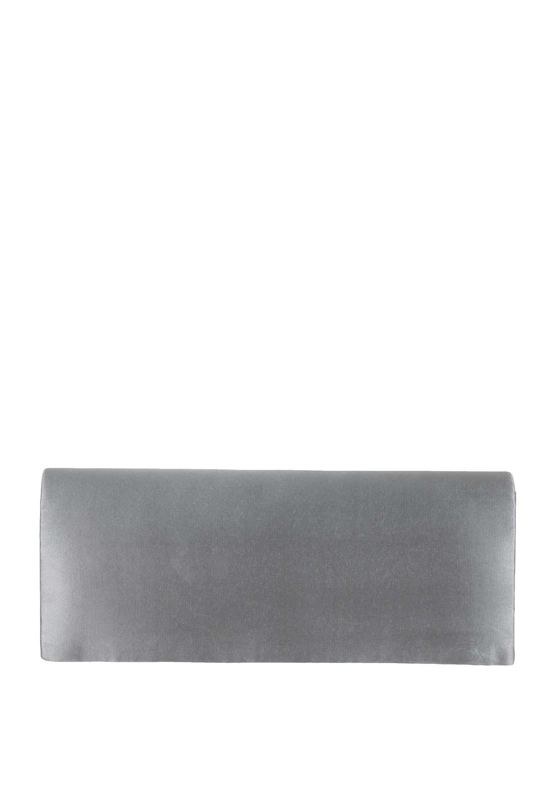 Lunar Isabella Satin Clutch Bag, Silver