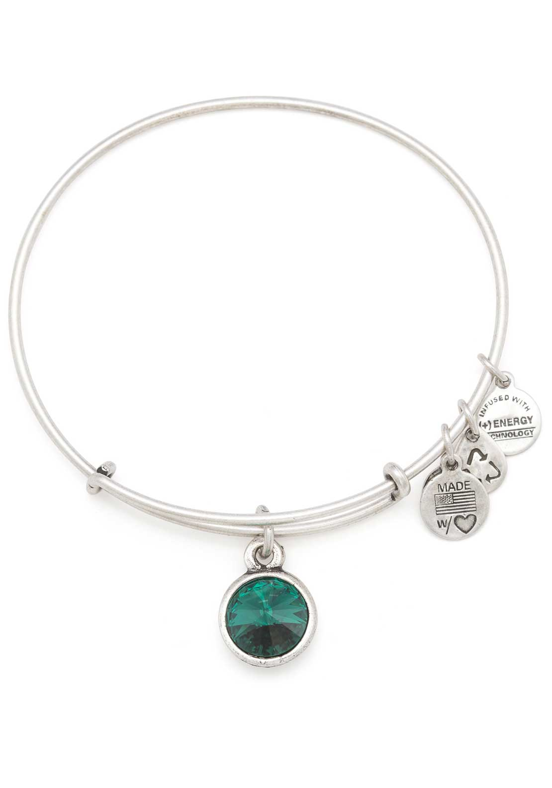 Silver Alex And Ani Energy May Birthstone Emerald Bracelet