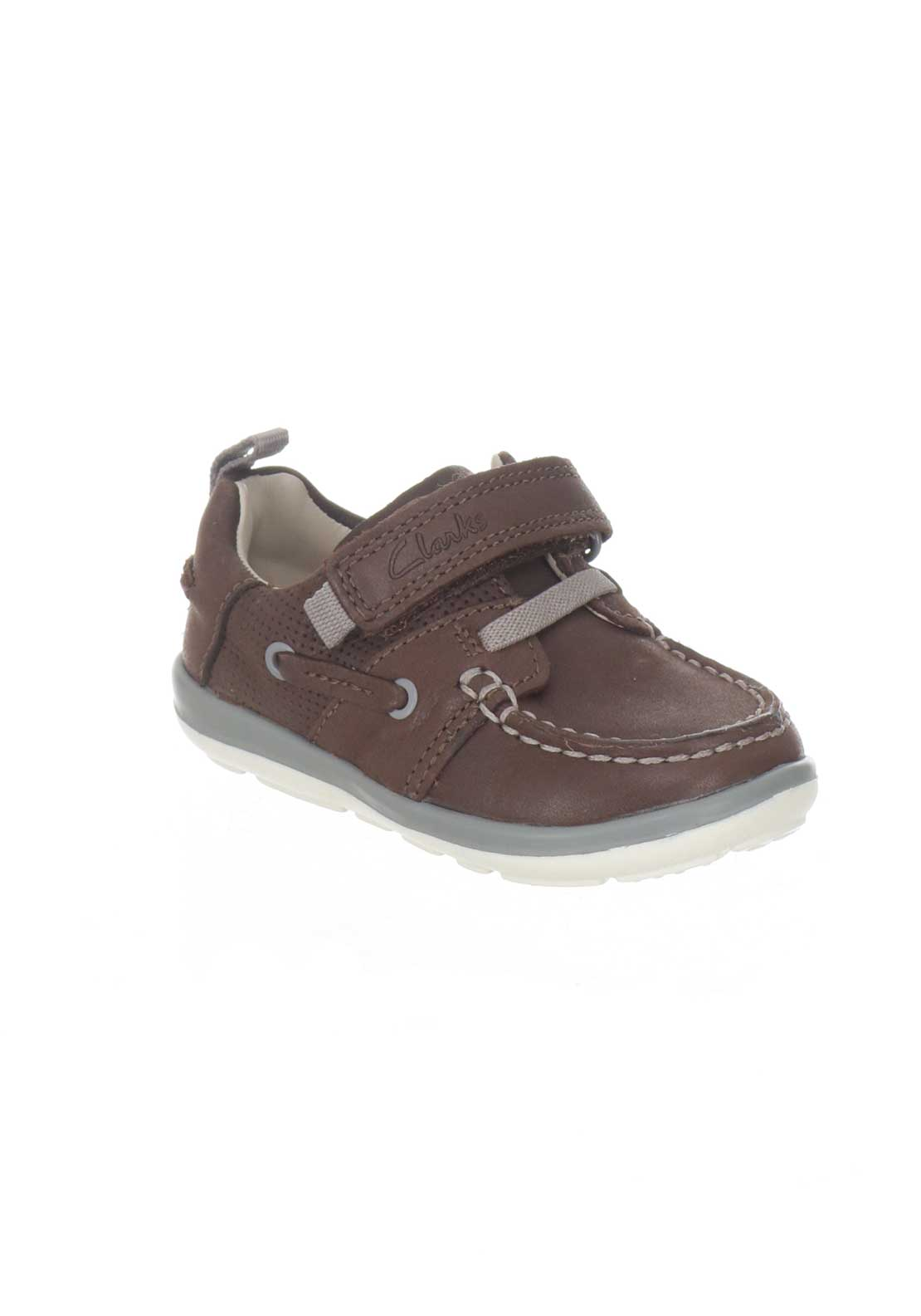 Clarks Baby Boys Leather Softly Boat Shoes Brown