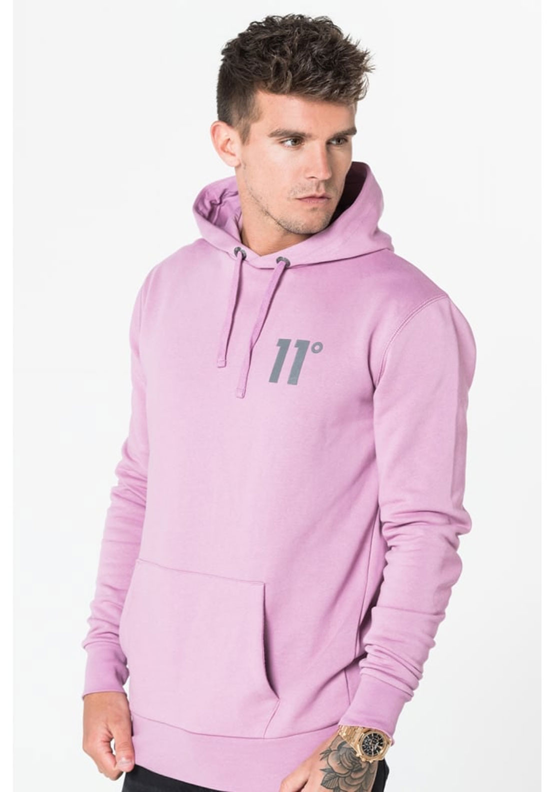 11 Degrees Core Pull Over Hooded Jumper Pink Mcelhinneys
