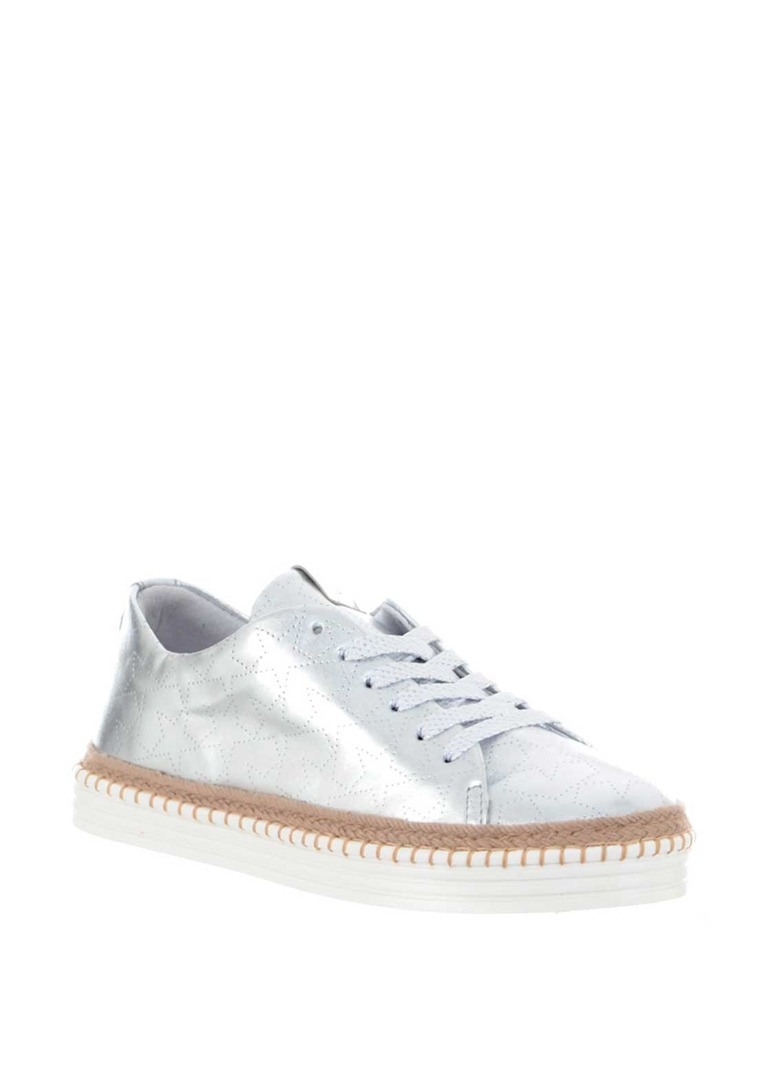 Alpe Leather Metallic Star Espadrille Trainers, Silver