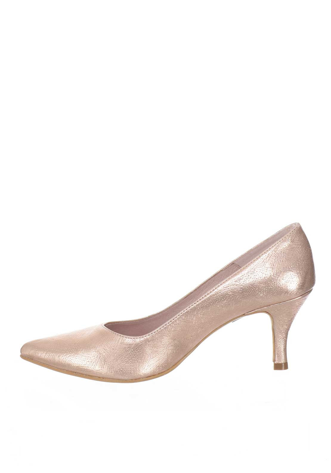 Ana Roman Textured Mid Heel Court Shoes, Rose Gold | McElhinneys ...