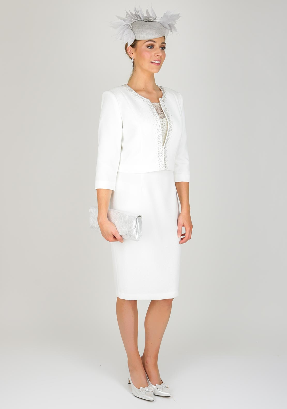 Cabotine Embellished Crepe Dress & Jacket, White | McElhinneys