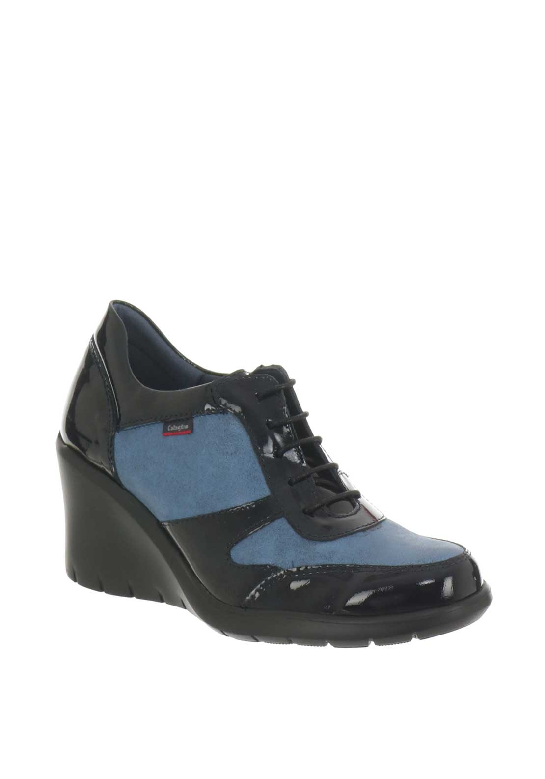 Callaghan Womens Metallic Leather Wedged Shoes, Navy ...