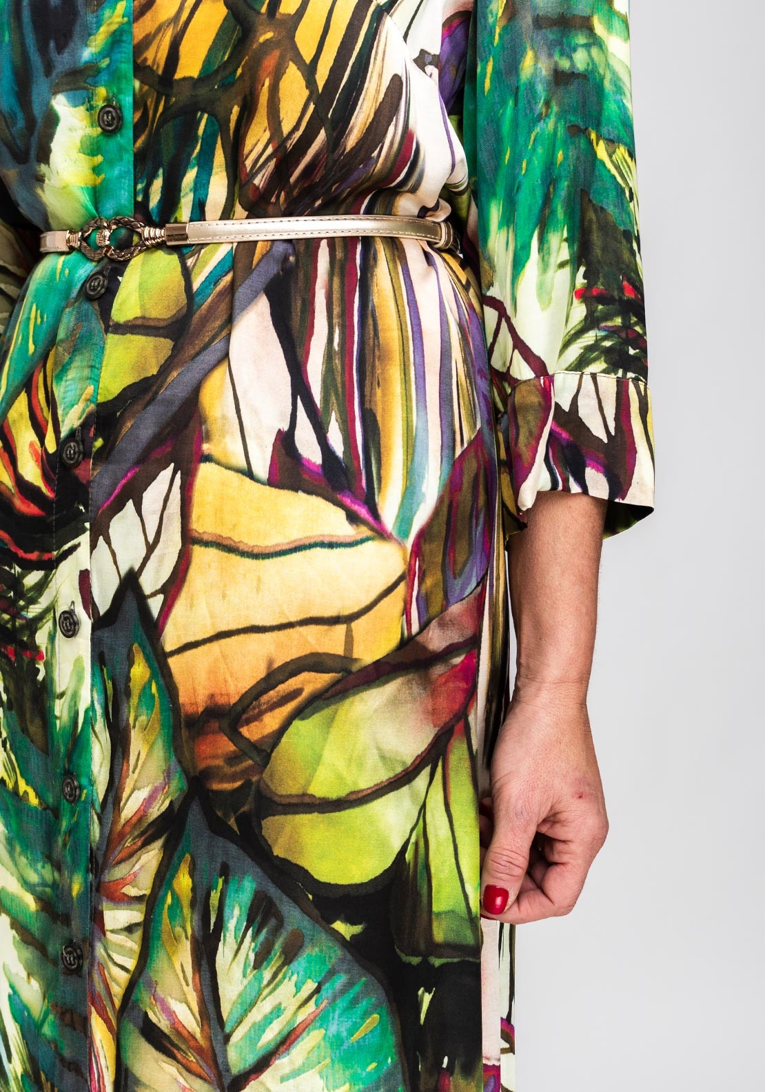 Camelot Tropical Print Midi Shirt Dress, Multi-Coloured