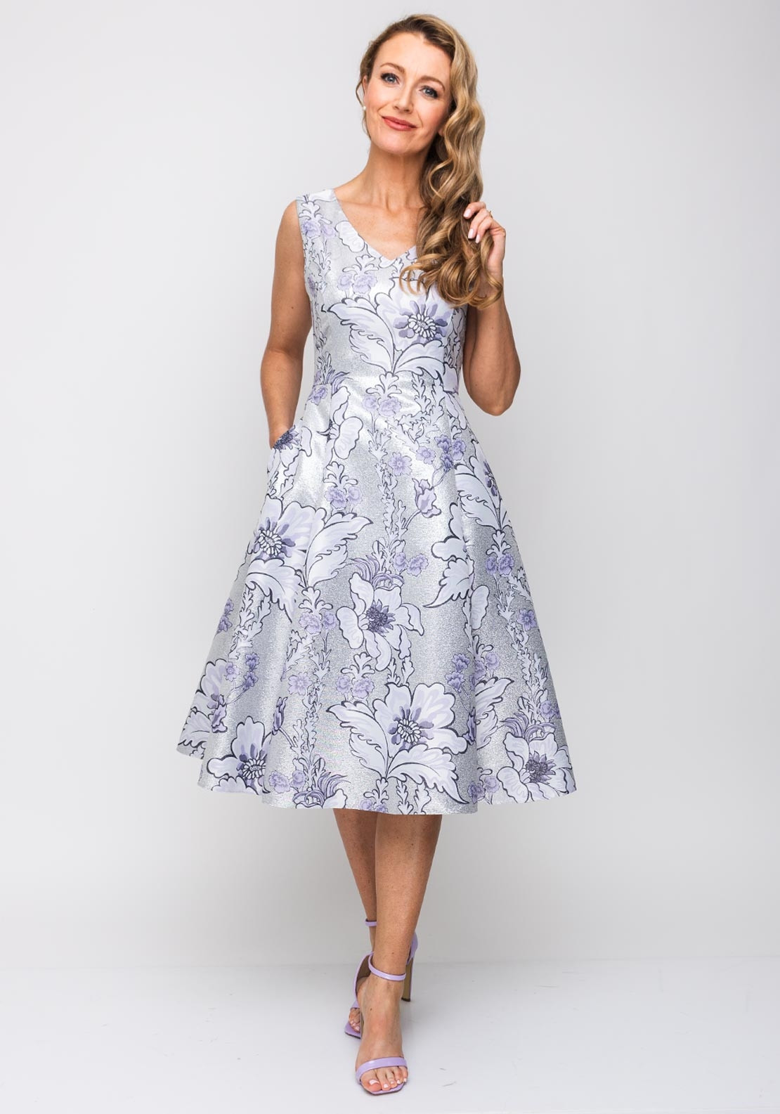 Daisy May Metallic Floral Flared Dress Silver Amp Lilac