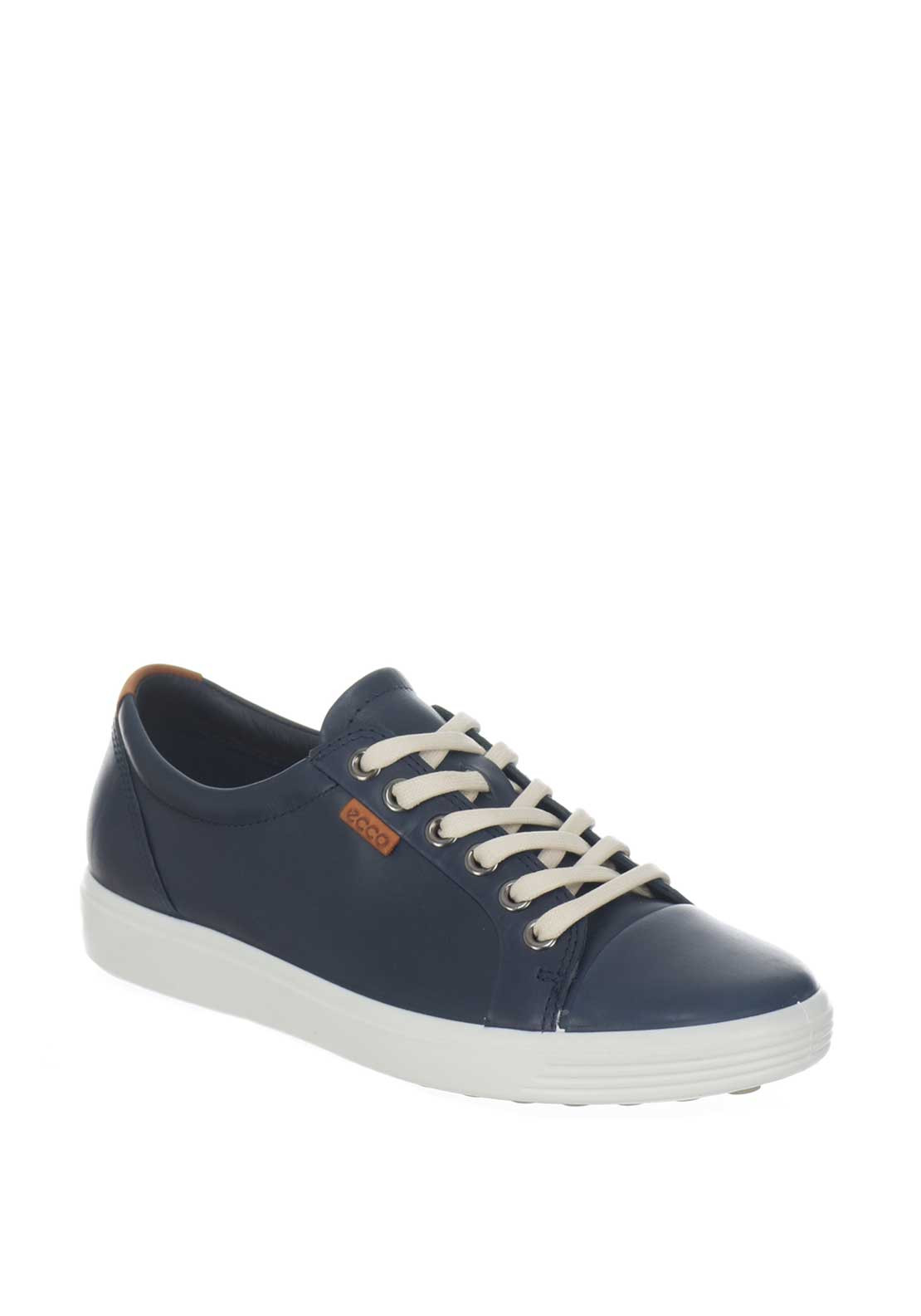 Ecco Womens Soft 7 Leather Trainers Marine Mcelhinneys
