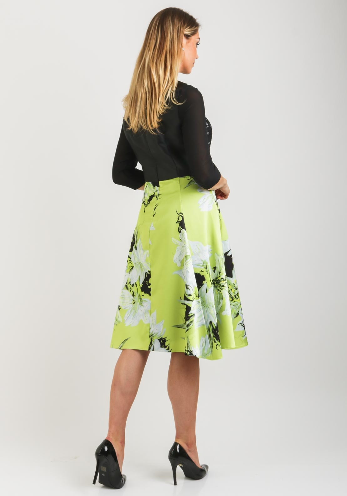 4418586dce81d Ella Boo Embroidered Bodice Flared Dress, Lime & Black. Be the first to  review this product
