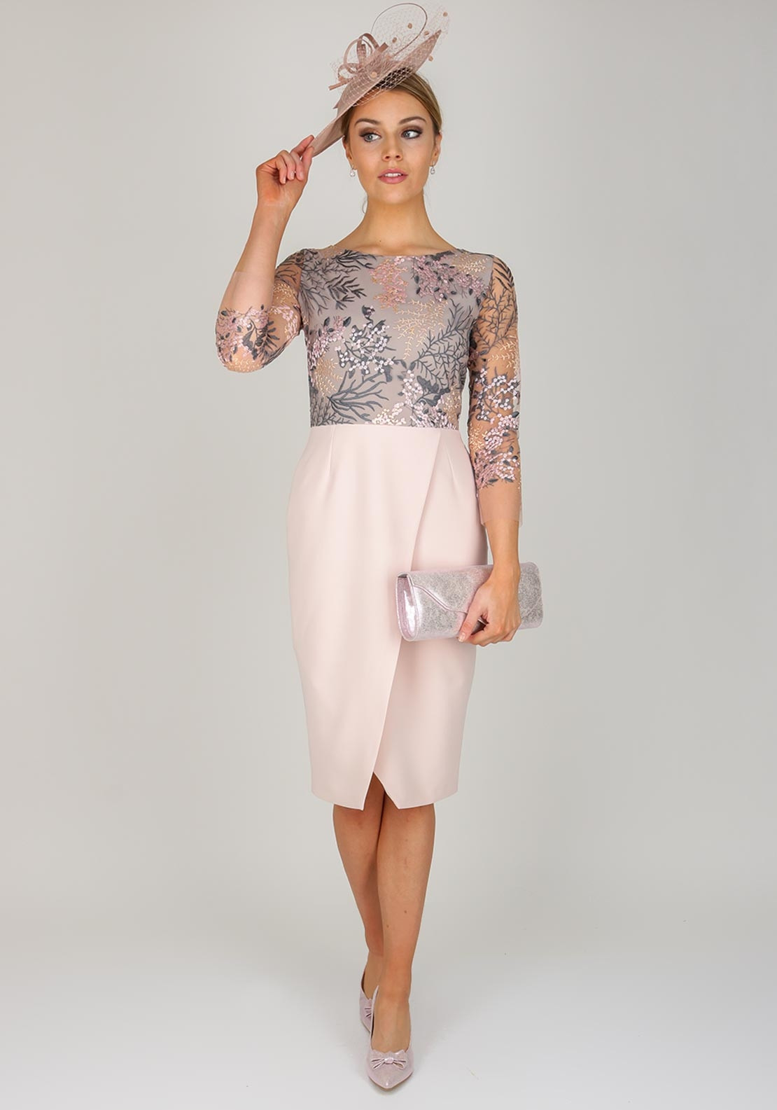 Fee g embroidered bodice pencil dress blush pink