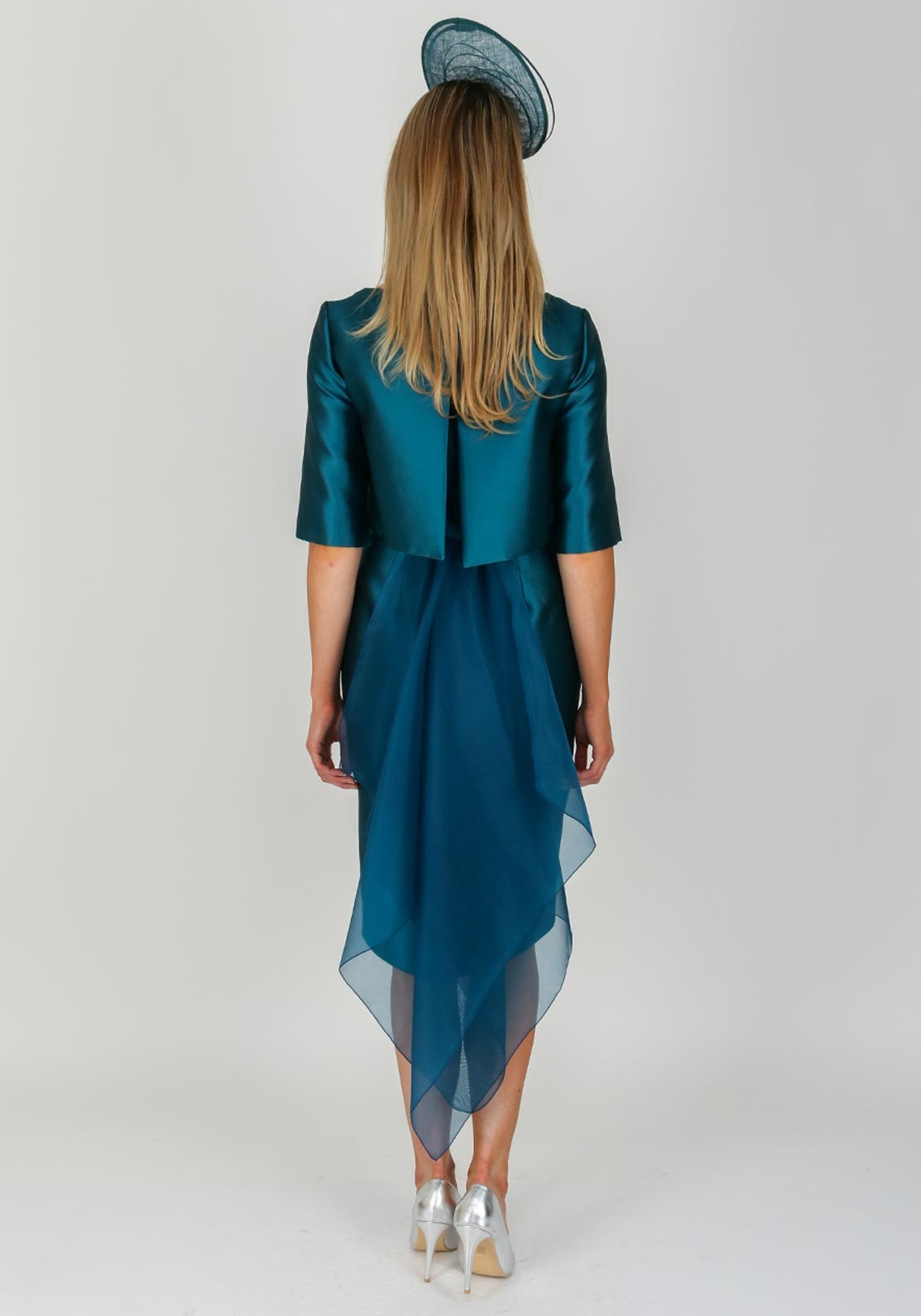 Fely Campo Chiffon Bustle Dress & Jacket, Teal Blue