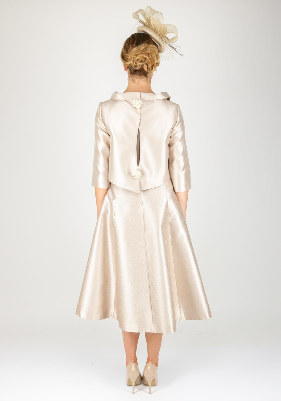 Fely Campo Silk Flared Midi Dress Amp Jacket Beige