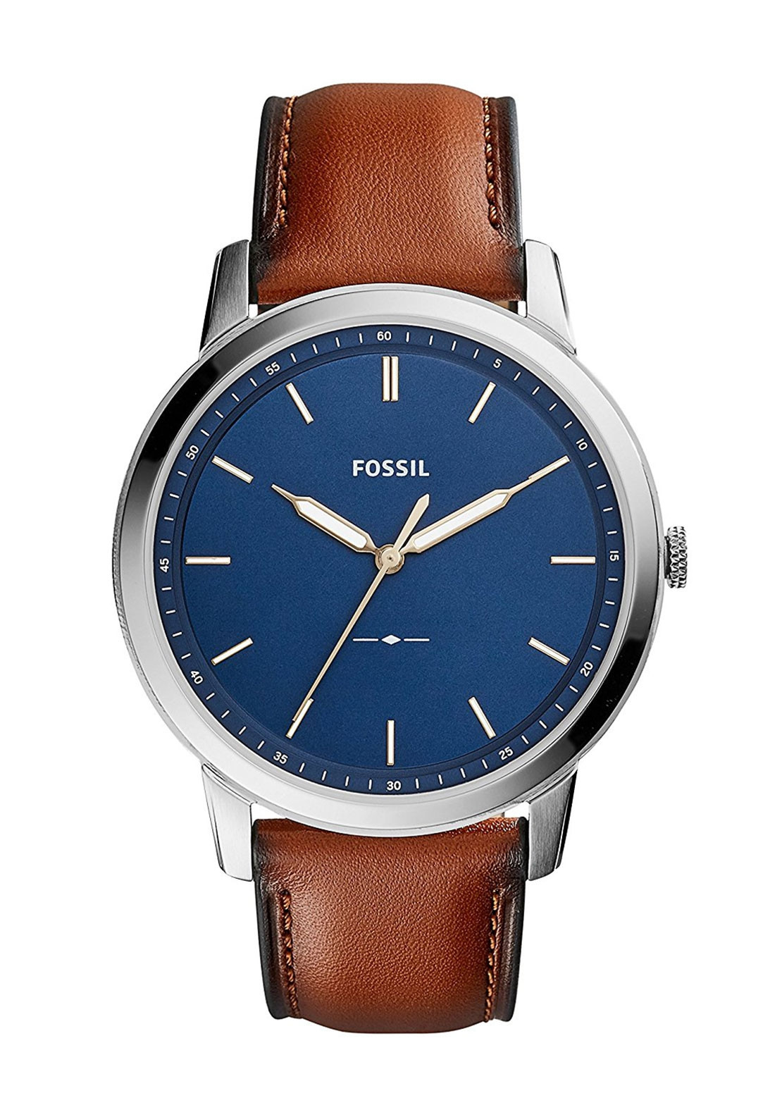 fossil mens three hand gradient leather watch brown mcelhinneys