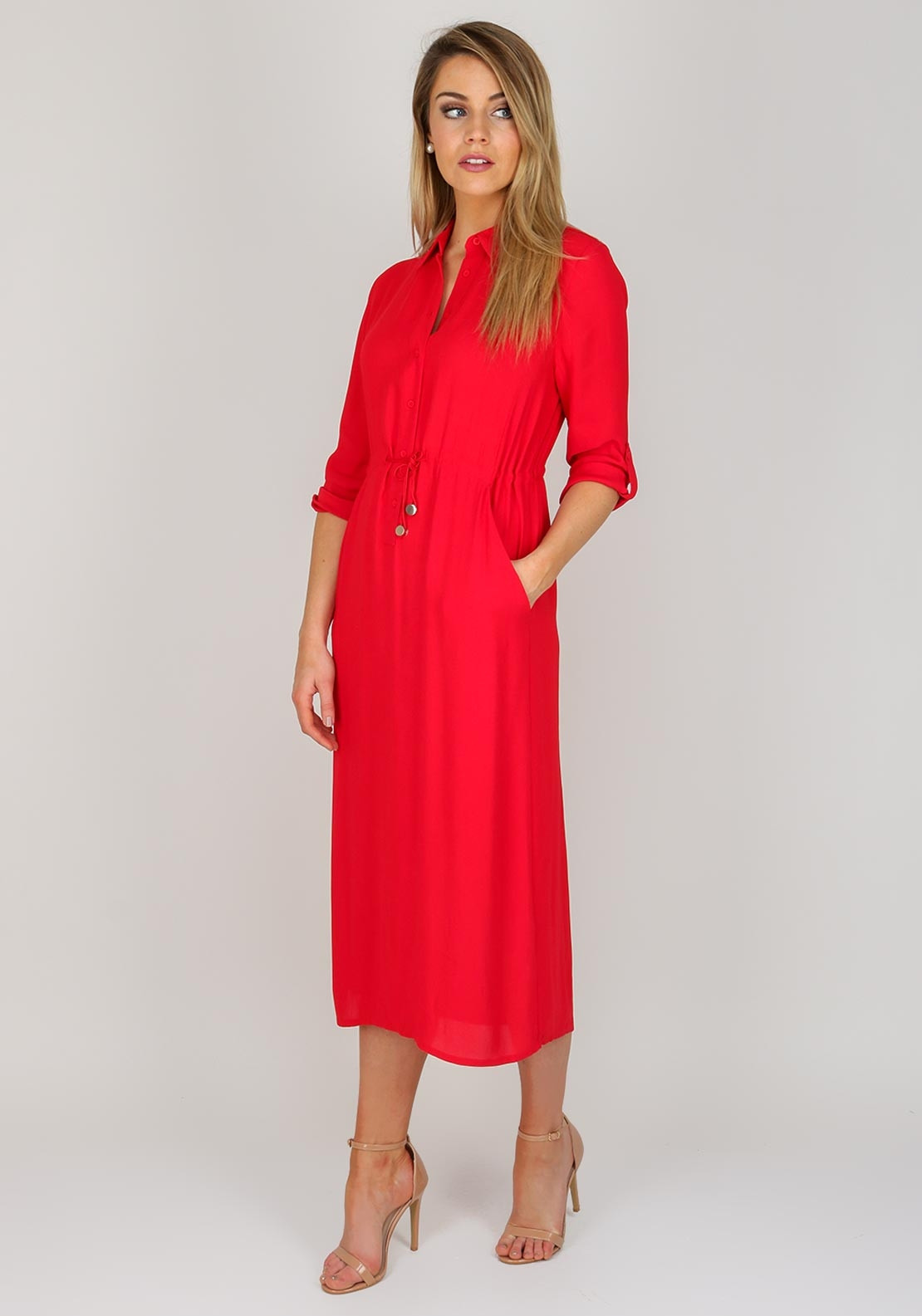 French Connection Womens Midi Shirt Dress, Red | McElhinneys