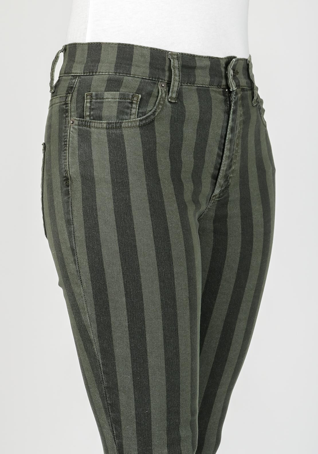 French Connection Striped Skinny Jeans  Olive Green