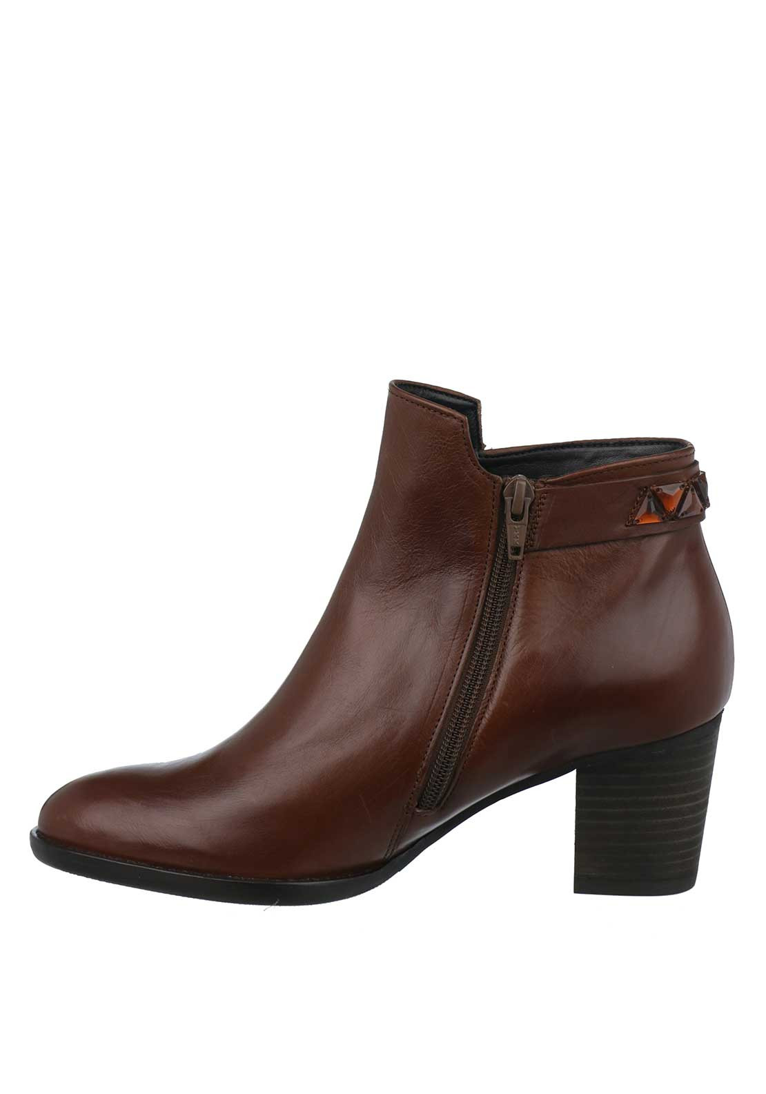 gabor leather diamante heeled ankle boots brown