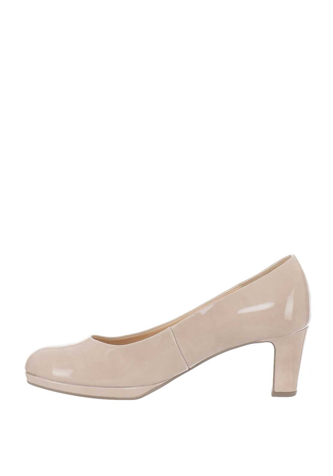 Gabor Soft Leather Nude Court Shoe