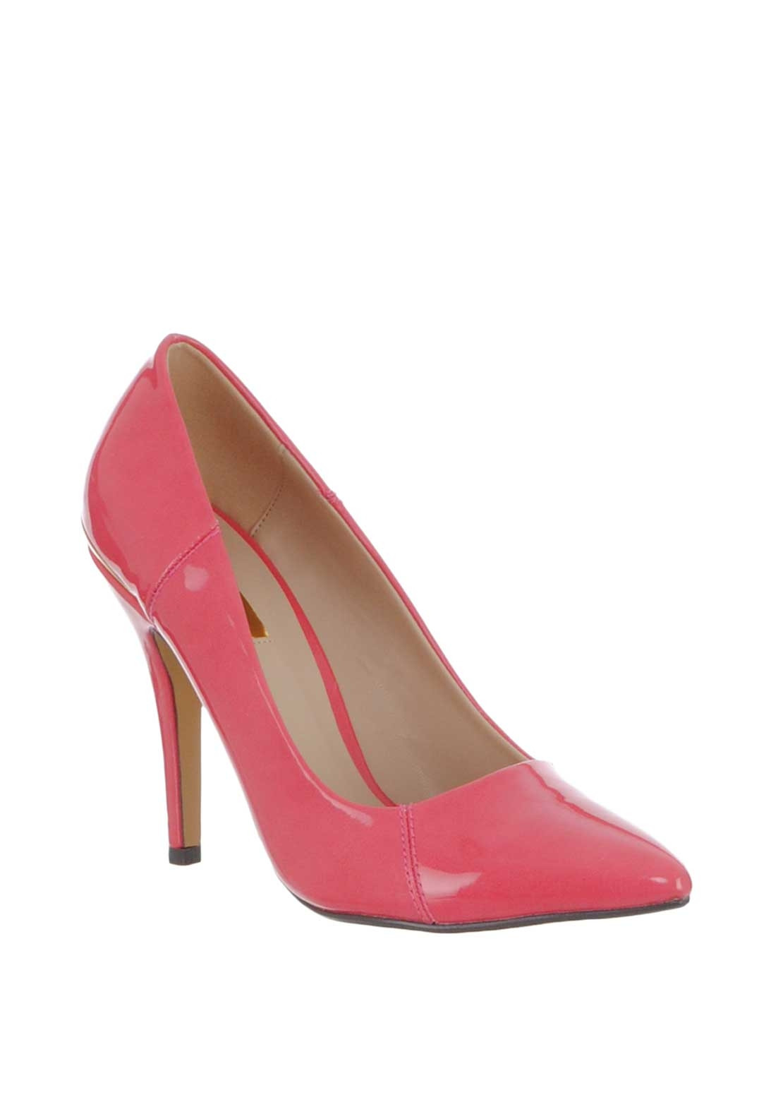 Glamour Carrie Patent Pointed Heeled Shoes, Coral ...