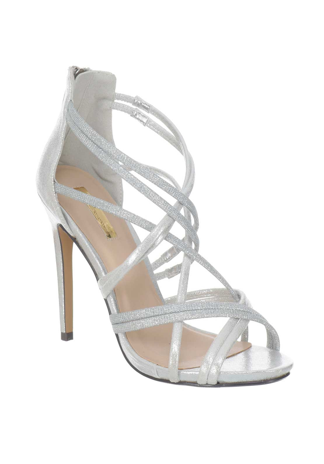 4a8949a6dcd51 Glamour Glitter Strappy Heeled Sandals, Silver | McElhinneys