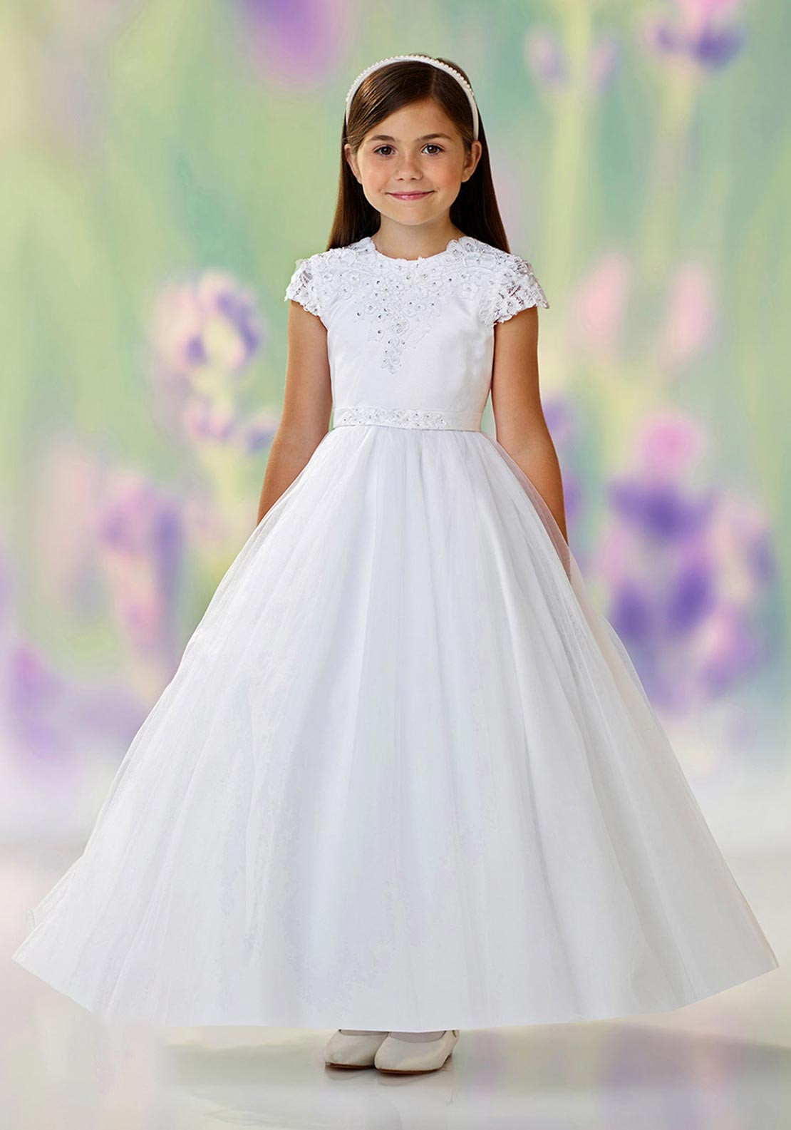 Joan Calabrese 18 Tulle Overlay Communion Dress, White