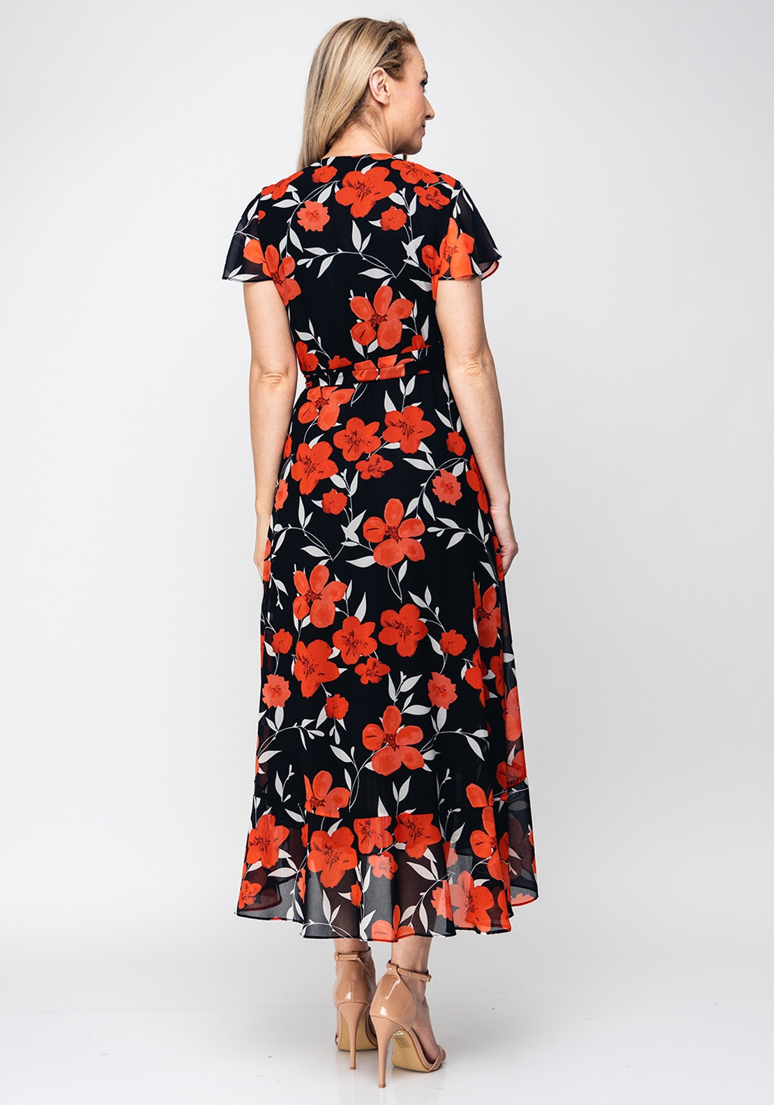 6a774d06b5c Joseph Ribkoff Floral Wrap Over Midi Dress