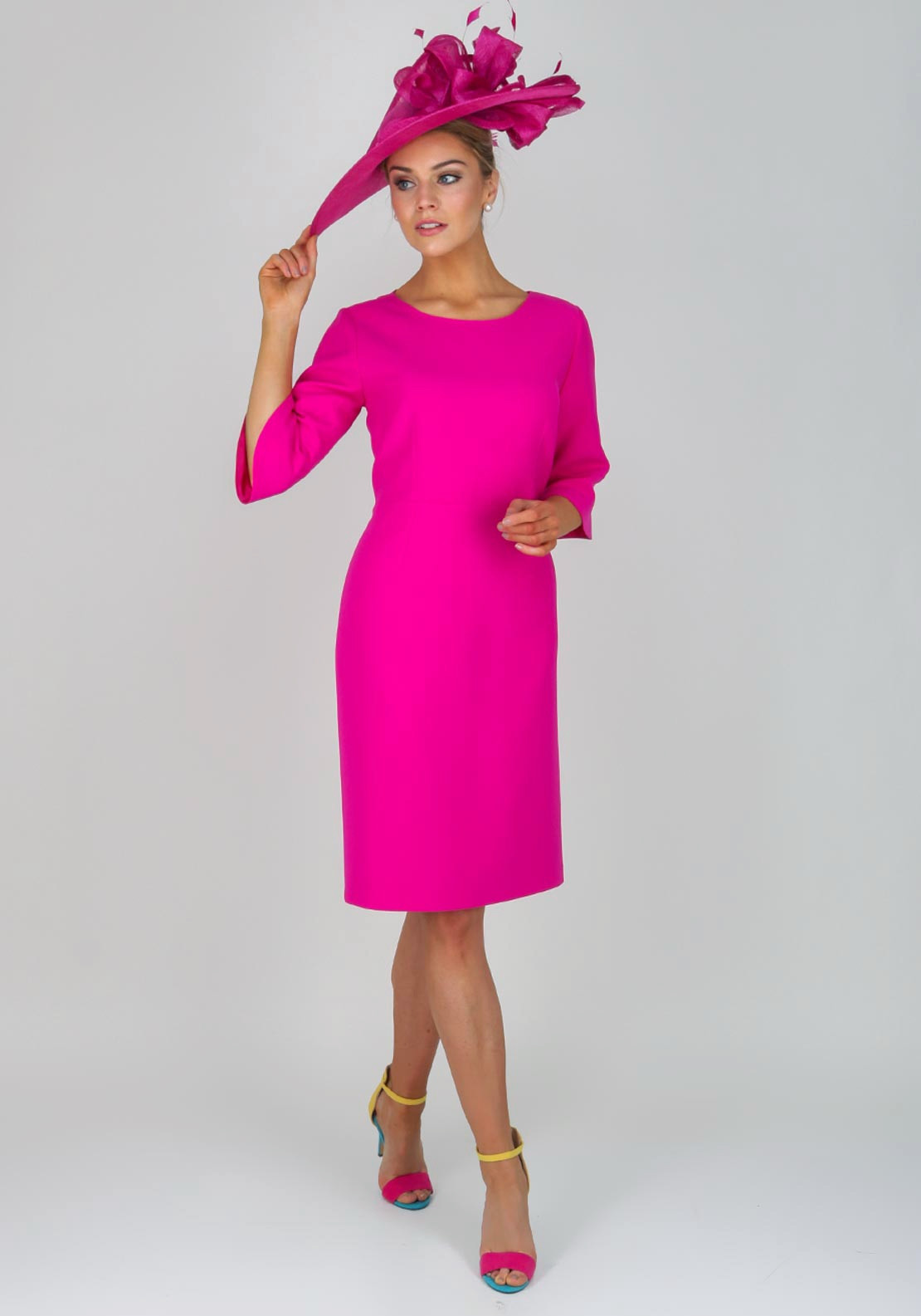 Kate Cooper Crepe Bell Sleeve Dress Hot Pink Mcelhinneys
