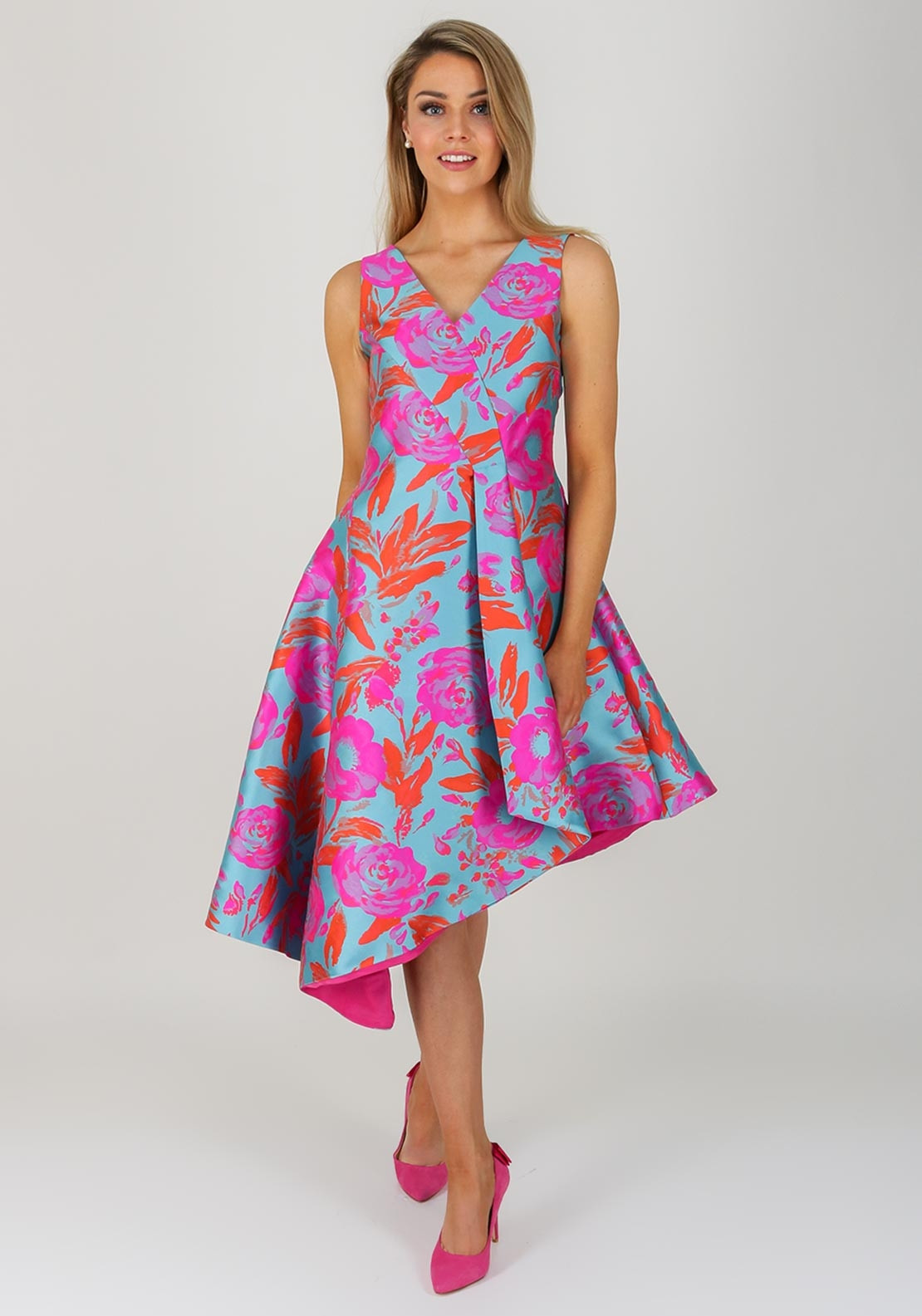 Kate Cooper Floral Flared Dress Blue Amp Pink Mcelhinneys