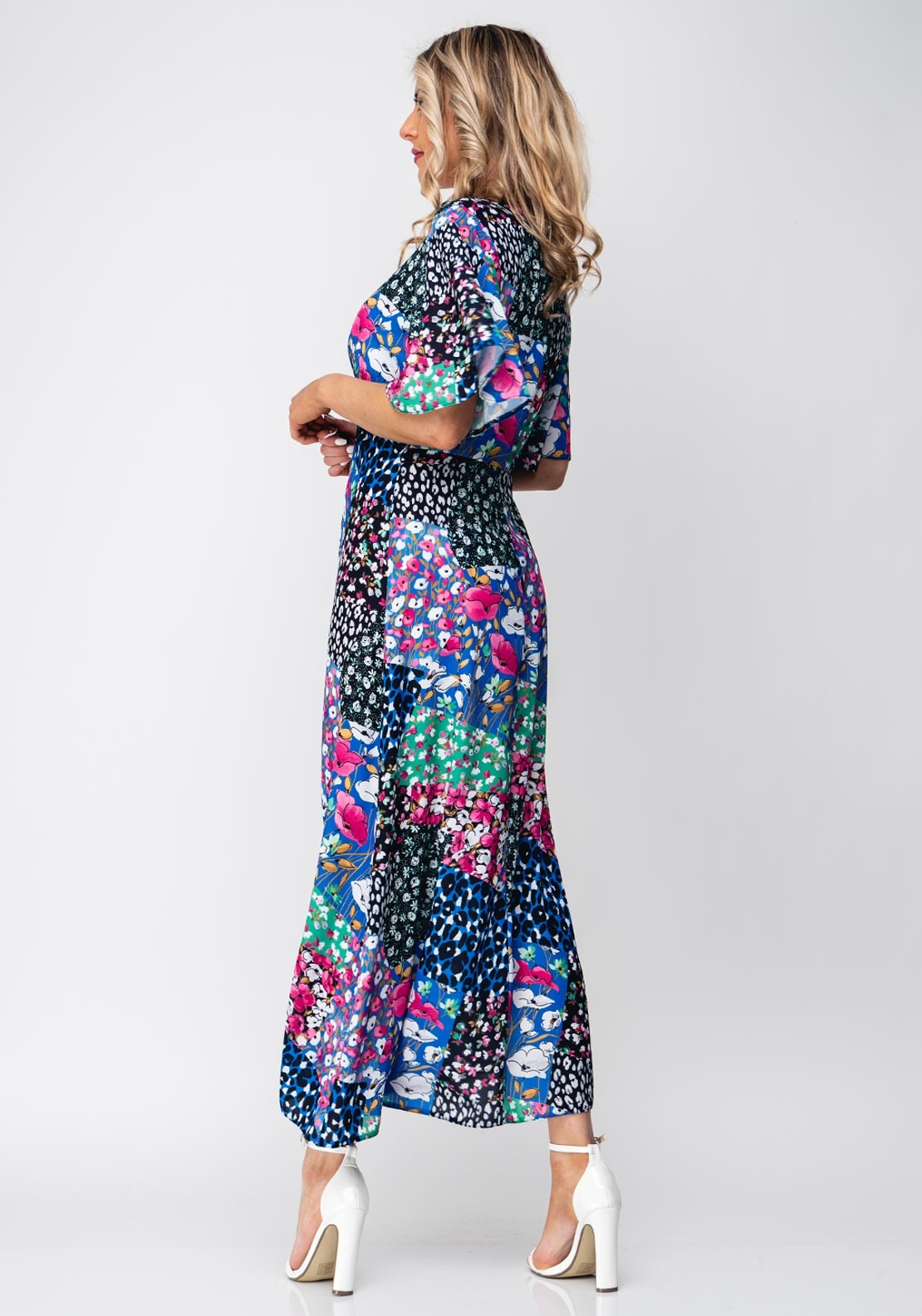 815c7b2c287f Seventy1 Patchwork Flower Long Dress, Blue Multi. Be the first to review  this product