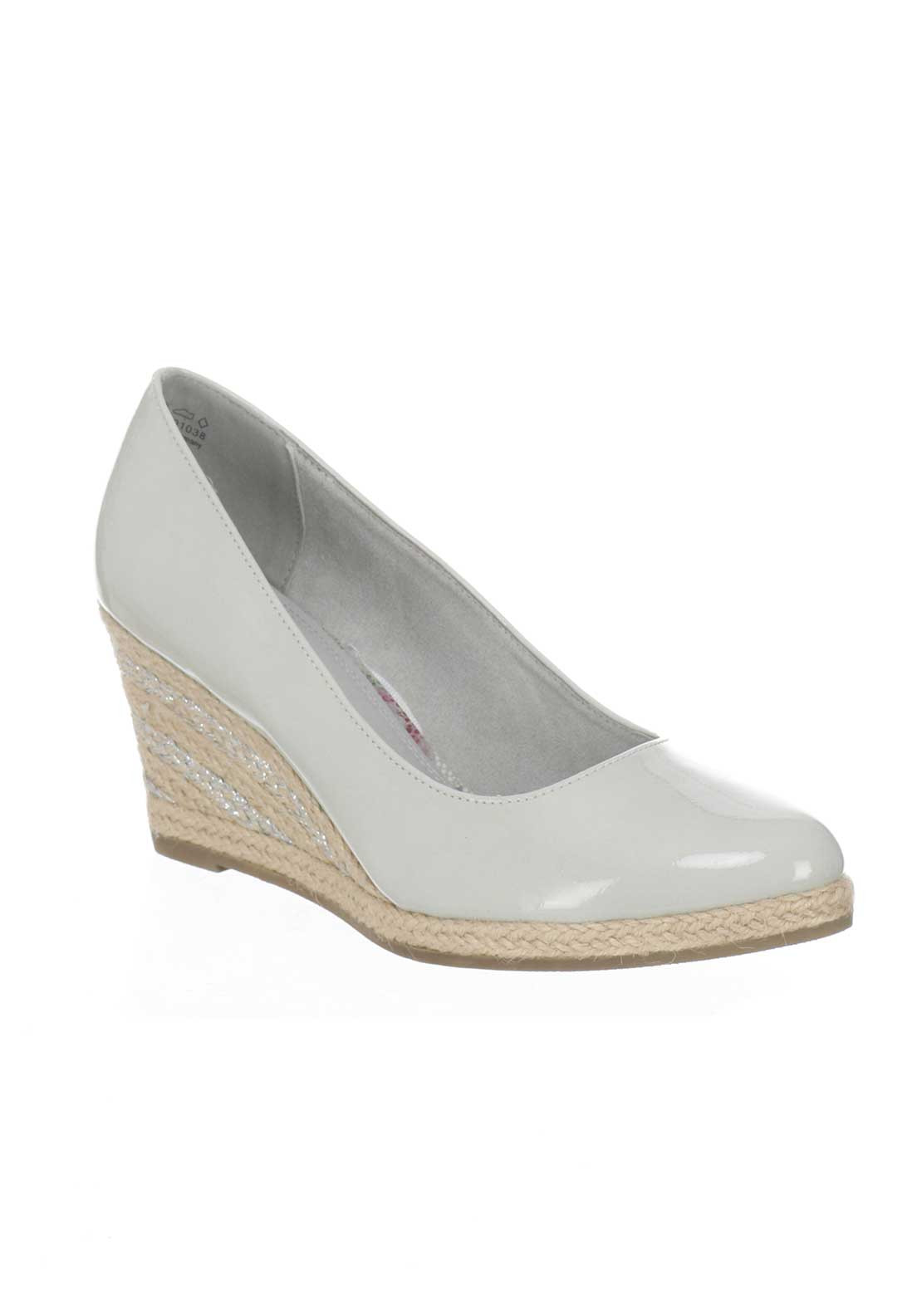 marco tozzi patent espadrille wedged shoes grey mcelhinneys. Black Bedroom Furniture Sets. Home Design Ideas