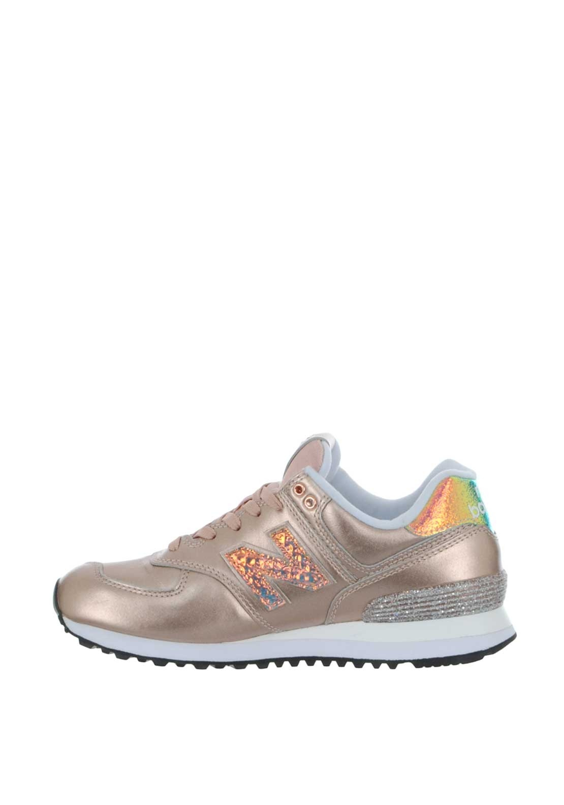size 40 52144 55f8c New Balance Womens 574 Metallic Trainers, Rose Gold