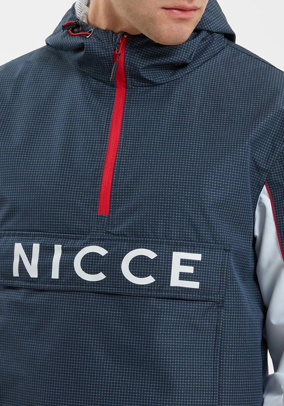 NICCE Mens Henley Jacket in NAVY REFLECTIVE CHECK