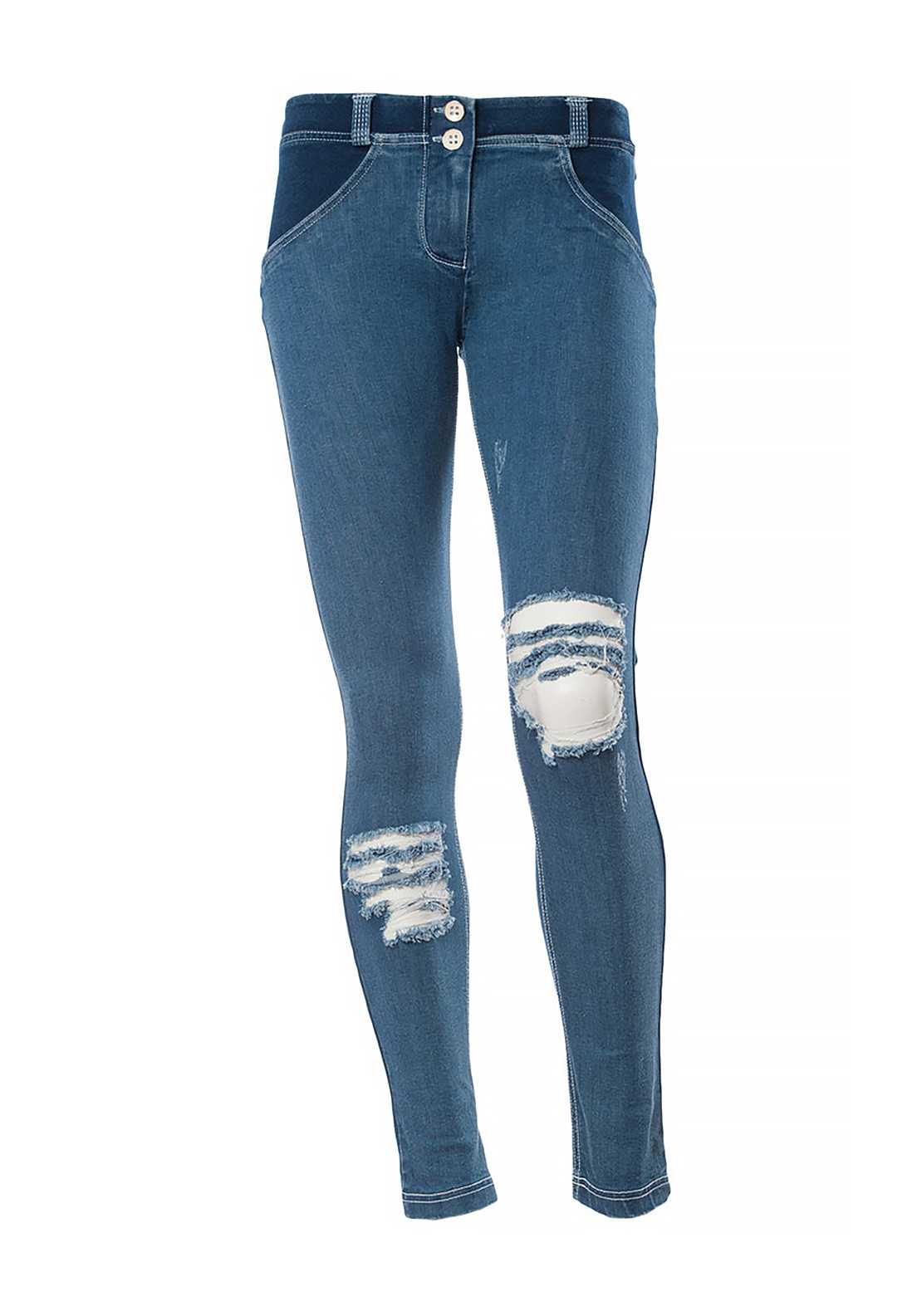 freddy wr up ripped low waist skinny 7 8 jeans blue mcelhinneys. Black Bedroom Furniture Sets. Home Design Ideas