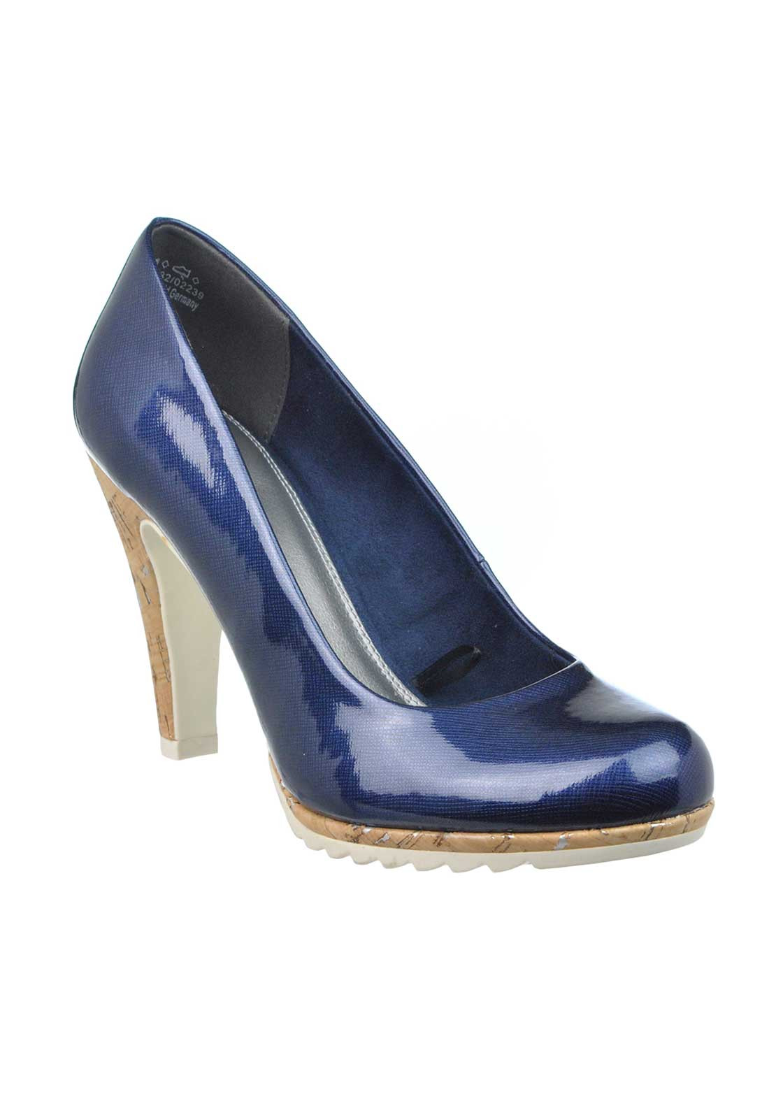 1c167660a9 Marco Tozzi Patent Cork Heeled Court Shoes, Navy | McElhinneys