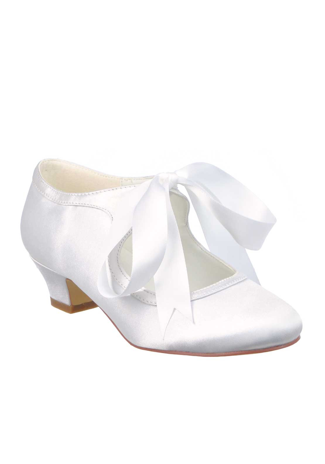 Little People Girls Bow Satin Communion Shoes White